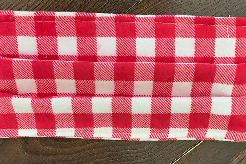3-Ply Red & White Checked Mask