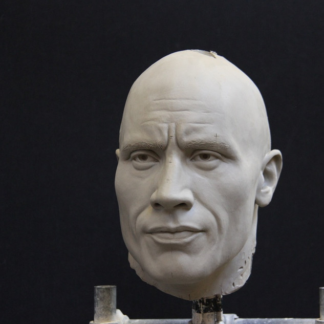 The Rock portrait in clay