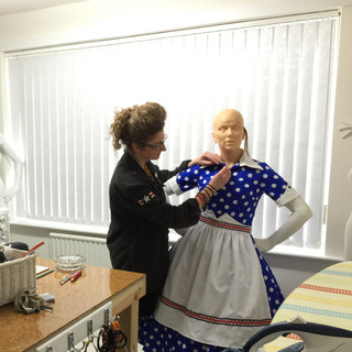 Melissa works on the Lucille Ball dress
