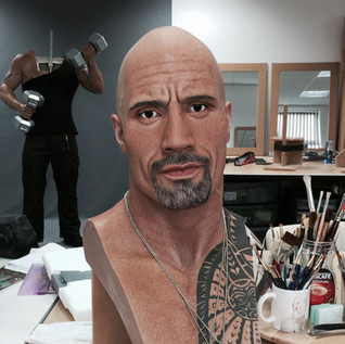 The Rock wax portrait painted with oil colour
