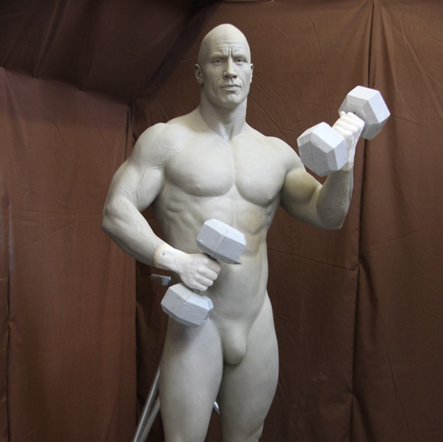 The Rock sculpted in clay
