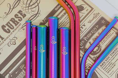 Mermaid Rainbow Stainless Steel Straw Set