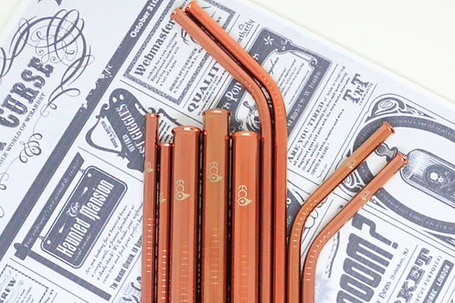 Amber Stainless Straw Set