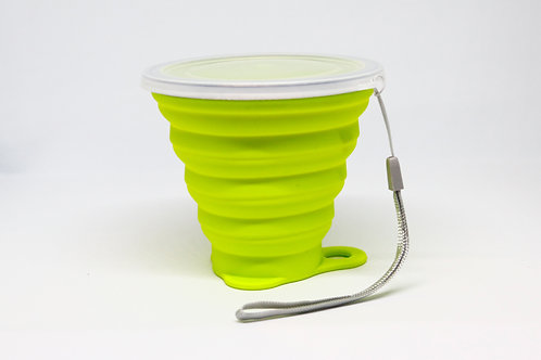 Silicone Collapsible Travel Cup Lime Green 270ML