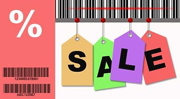 Montage image of bar codes and sales tags