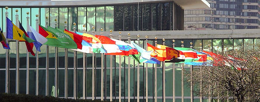 Picture of UN Building and national flags
