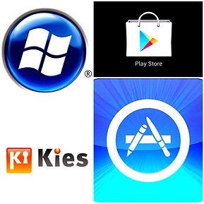 Company logos of businesses connected with smartphones