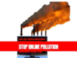 """Picture of a computer with dirty smokestacks and the title """"Stop Online Pollution"""""""