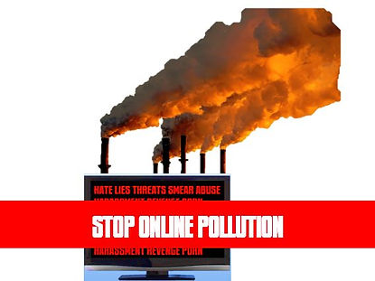 "Picture of a computer with dirty smokestacks and the title ""Stop Online Pollution"""