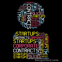Montage words image of legal terms reflecting startups and other corporate law subjects
