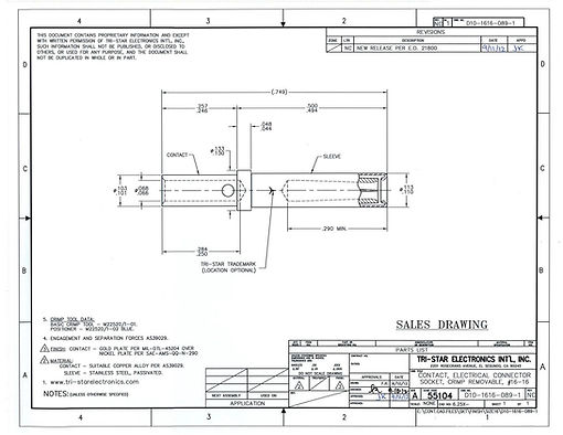 Tri-Star Industrial Contacts Spec Drawing