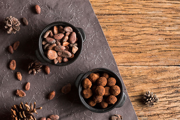 top-view-cocoa-beans-and-chocolate-truff