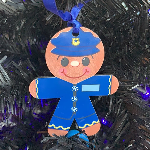 Gingerbread Police Man Ornament