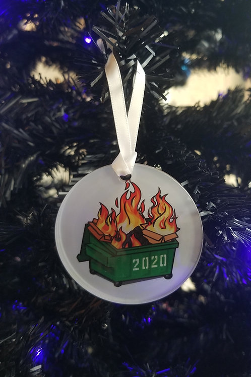 2020 Dumpster Fire glass ornament