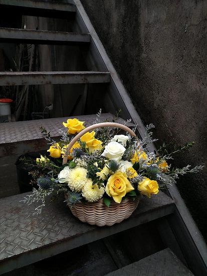 Sunny Yellow Rattan Basket Arrangement