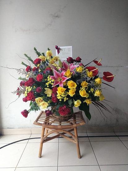 Mix Rattan Basket Flower Arrangement
