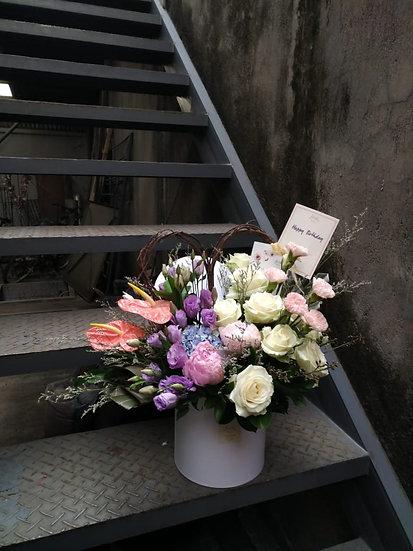 Colorful Flower Bloom Box Arrangement (Medium / Large)
