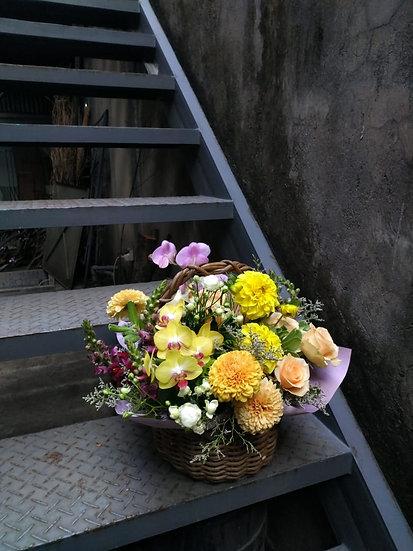 Rattan Basket Rose and Gompie Flower Arrangement