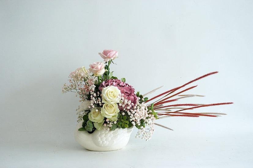 Swan Lake Pink Flower Vase
