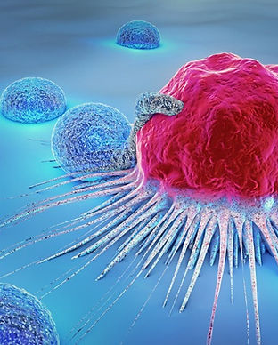 3d-illustration-of-a-cancer-cell-and-lym