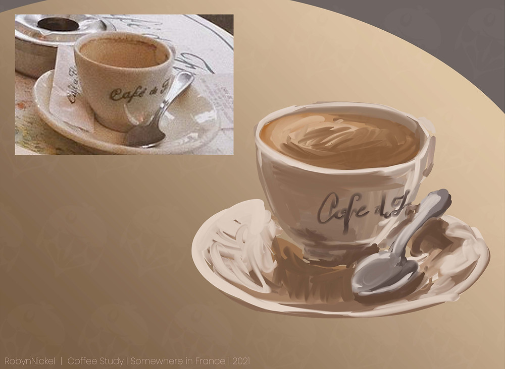 A digital rendering of a coffee cup on a plate with a spoon, next to a photo reference