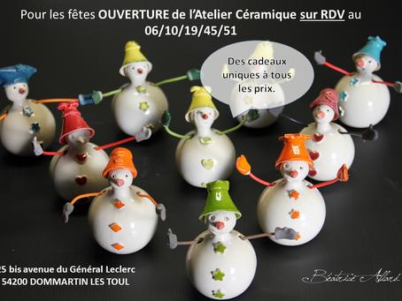 Jusqu'à Noël, ouverture de l'atelier sur RDV