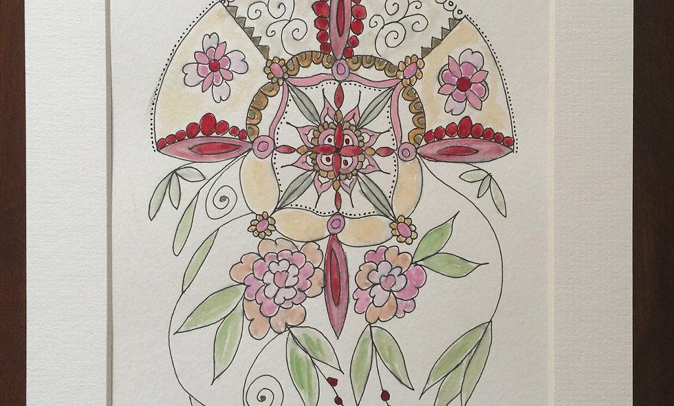Pink doodle flower mandala