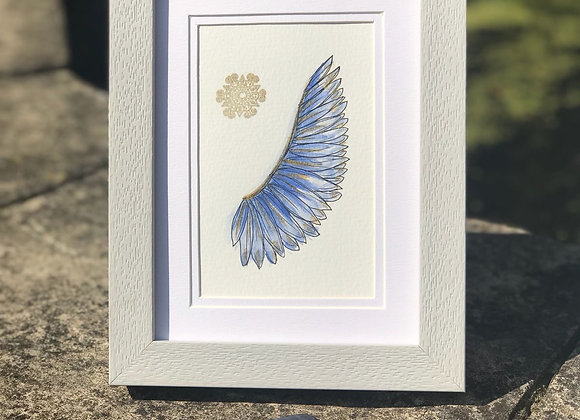 Blue Angel Wing with a Blue Agate Crystal