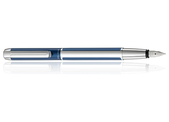 Pelikan Pura, Blue-Silver, Fountain Pen, Medium Nib
