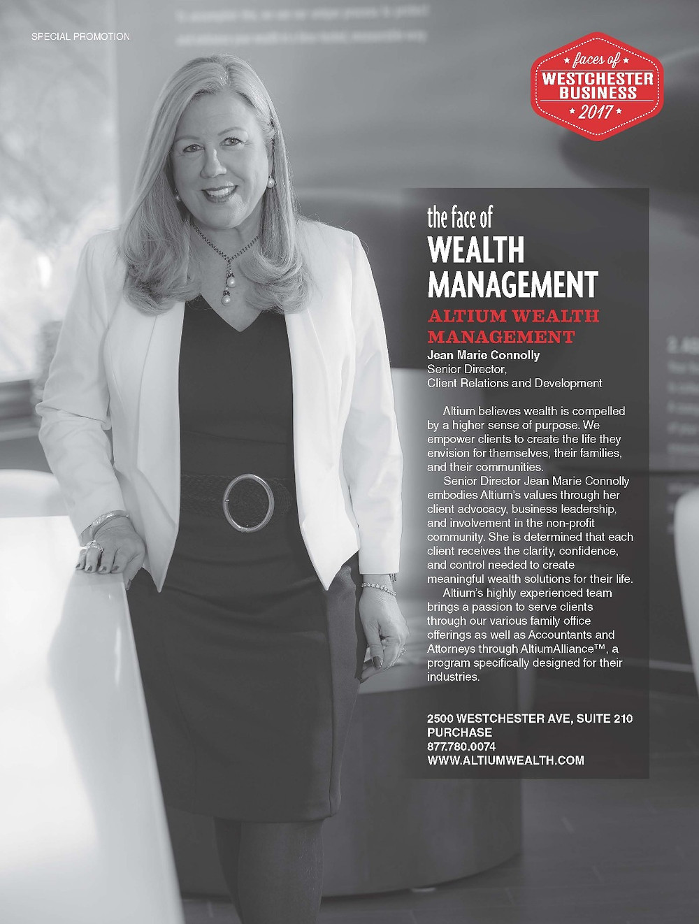 Jean Marie Connolly as the face of Wealth Management - 914INC