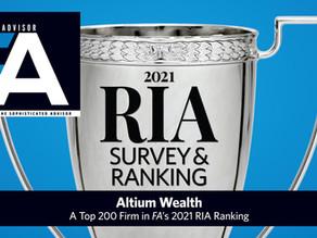 Altium Ranked Top 200 in FA's 2021 RIA Survey & Ranking List
