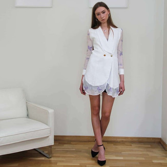 Textile: 30% Cotton 70% Linen  Product: long sleeve double breasted blazer style dress