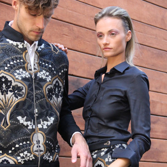 Textile: Brocade Product: Shorts (for her) Bomber jacket (for him)