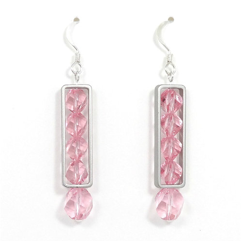 SWAROVSKI ROSE PINK FRAMED EARRINGS