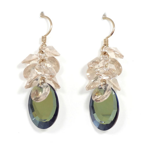 SWAROVSKI SILK-MIRROR CLUSTER DANGLE EARRINGS