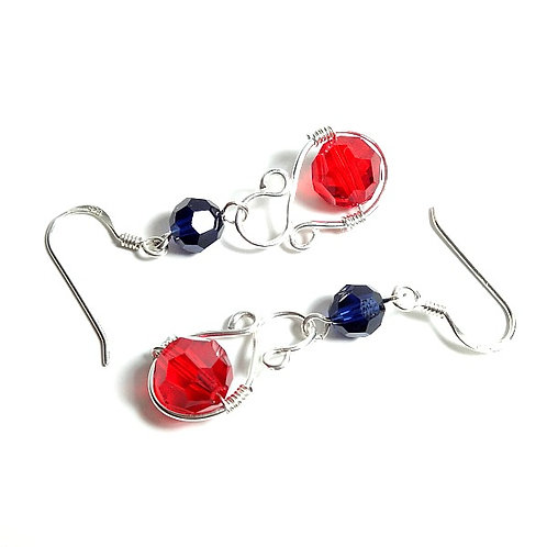 SWAROVSKI RED & BLUE SQUIGGLE EARRINGS