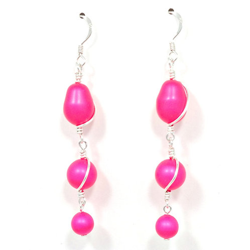 SWAROVSKI PEARL PINK WIRE WRAP EARRINGS