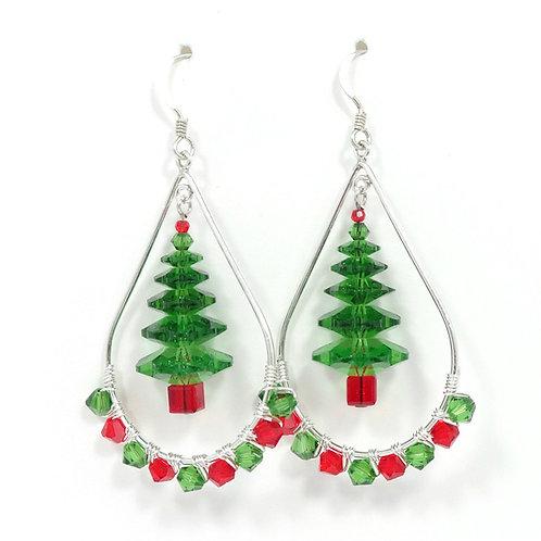 SWAROVSKI CRYSTAL CHRISTMAS TREE HOOP EARRINGS