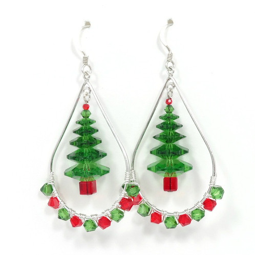 swarovski crystal red and green christmas tree hoop earrings - Crystal Christmas Trees