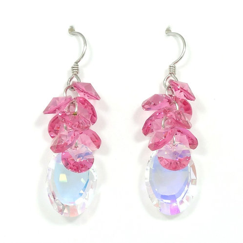 SWAROVSKI PINK-MIRROR CLUSTER DANGLE EARRINGS