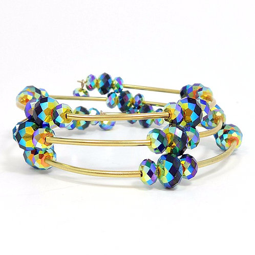 SWAROVSKI MULTI-COLORED CRYSTAL WRAP BRACELET