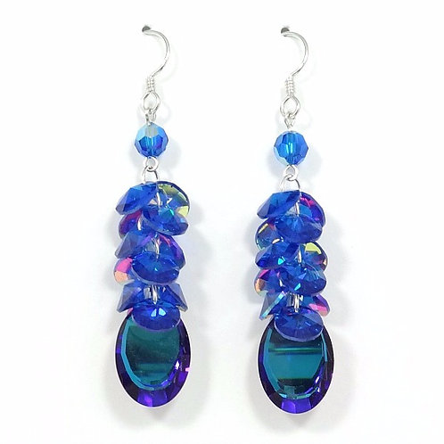 SWAROVSKI MIRROR BLUE CLUSTER EARRINGS