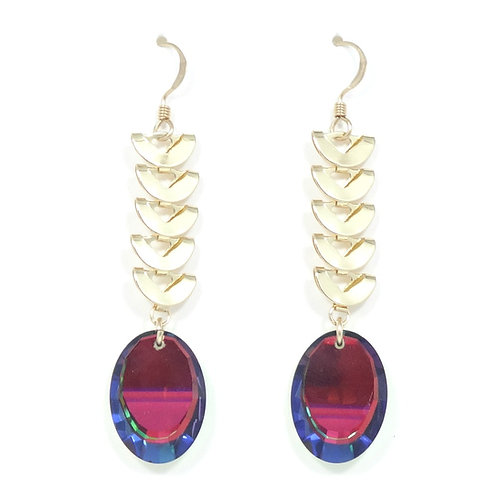 "SWAROVSKI CRESCENT ""VITRAIL"" MIRROR EARRINGS"