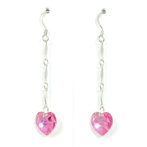 SWAROVSKI ROSE PINK HEART EARRINGS