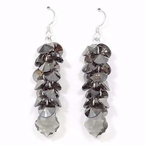 SWAROVSKI CRYSTAL PEWTER~GREY CLUSTER EARRINGS