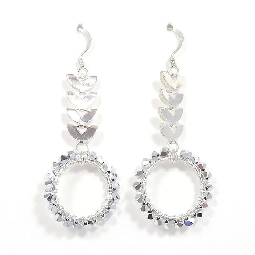 SWAROVSKI CRYSTAL CRESCENT SILVER EARRINGS