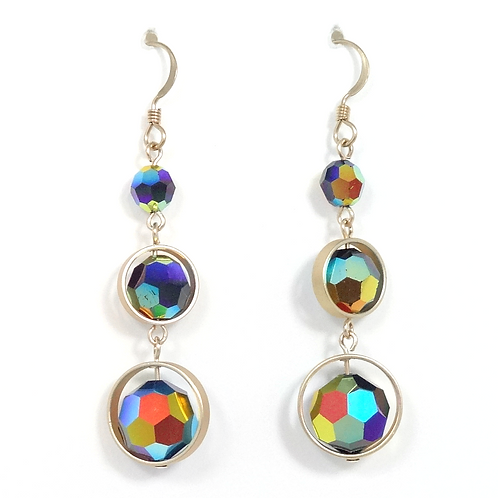 "SWAROVSKI ""AURORA BOREALIS"" FRAMED EARRINGS"