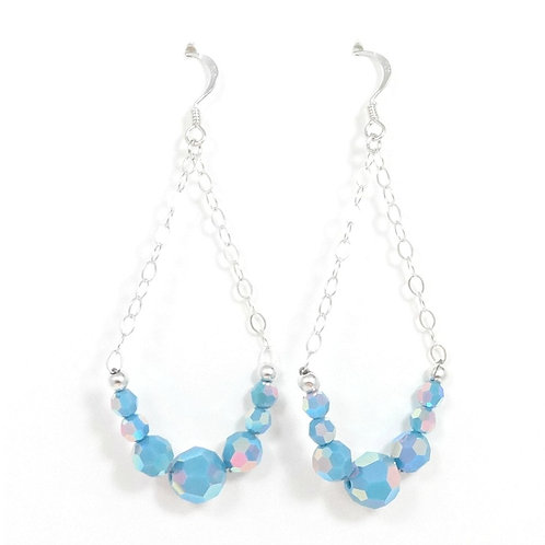 SWAROVSKI TURQUOISE SILVER CHAIN EARRINGS