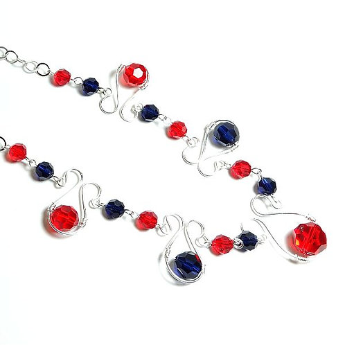 SWAROVSKI RED & BLUE SQUIGGLE NECKLACE
