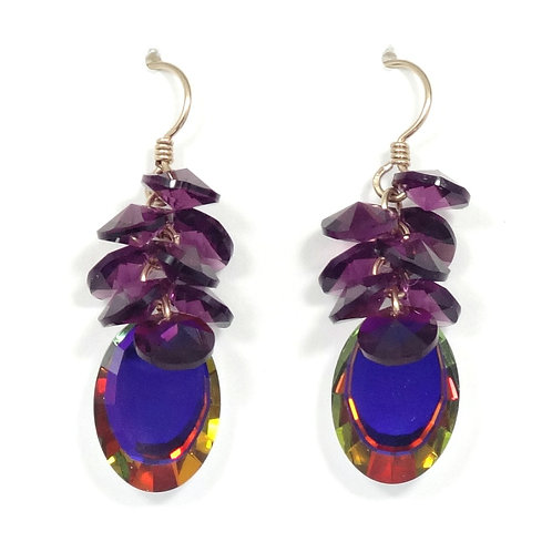SWAROVSKI AMETHYST-MIRROR CLUSTER DANGLE EARRINGS